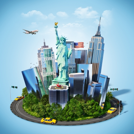 travelling: Famous symbols of New York city. Traveling to America