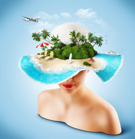 travel collage: Tropical island on the hat of woman. Traveling