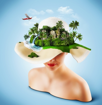 Tropical island on the hat of woman. Traveling photo