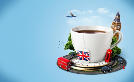 double decker bus: Traditional afternoon tea and famous symbols of England  Tourism Stock Photo