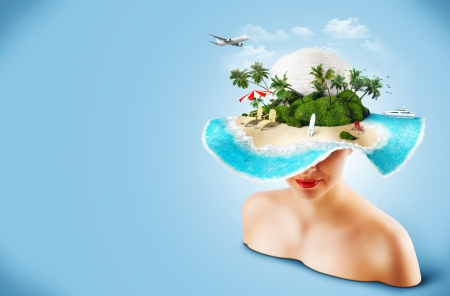 hot tour: Tropical island on the hat of woman  Traveling
