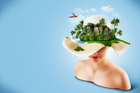 cascade mountains: Tropical island on the hat of woman  Traveling