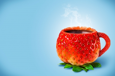 Cup from a strawberry with hot tea Stock Photo