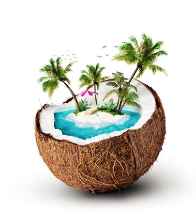 noix de coco: �le tropicale de voyage de noix de coco, les vacances