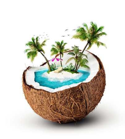 coconut: tropical island in coconut  Travelling, vacation Stock Photo