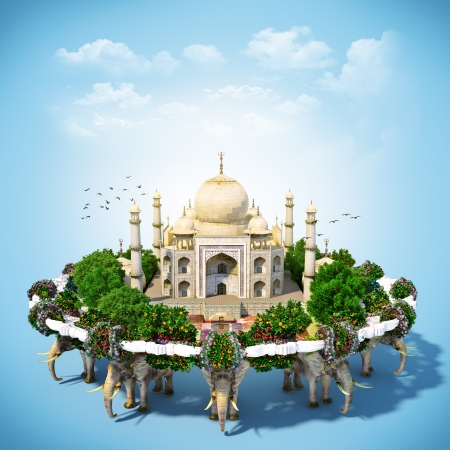 map of india: Taj Mahal surrounded by flowers and trees  traveling