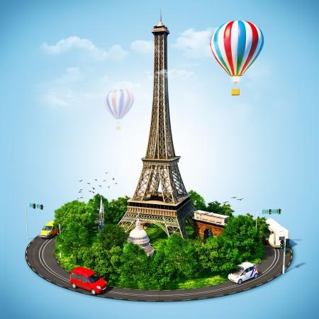 Eiffel Tower símbolos famosos de París Viajar a Francia Foto de archivo