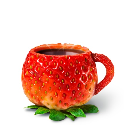 strawberry plant: Cup from a strawberry with hot tea  healthy food Stock Photo