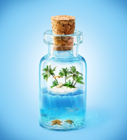 travel collage: tropical island and underwater world in  the bottle. Travelling, vacation