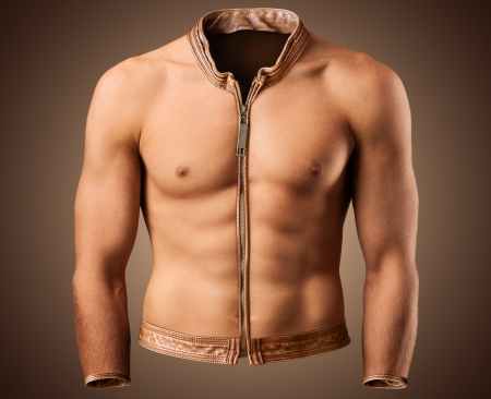 fitness club: Beautiful male torso in shape of a jacket