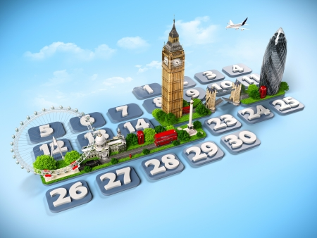 dates: traveling to London  One week at the calendar