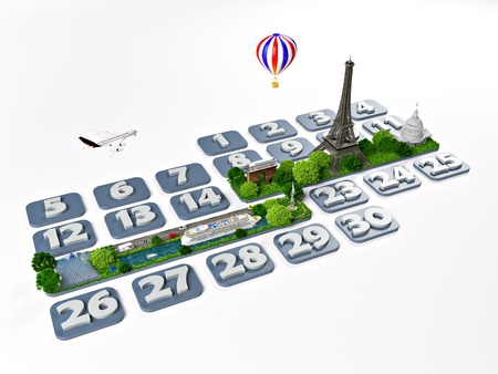booking: traveling to Paris  One week at the calendar  Stock Photo