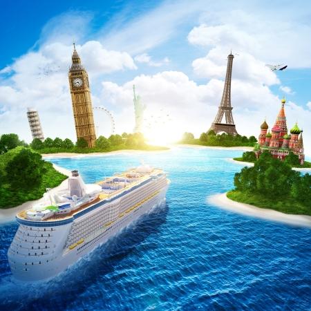 Tengeri körutazás Európa és országok a világ Stock fotó