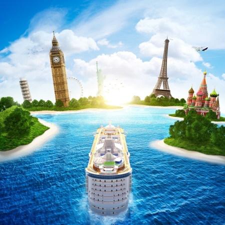 Sea cruise by Europe and countries of the world 版權商用圖片 - 19622845