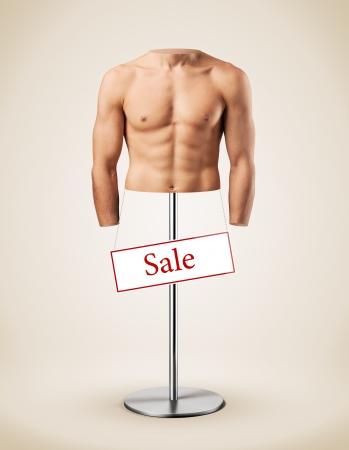 perfect body: Beautiful male torso like a manikin  Muscular man  Gym