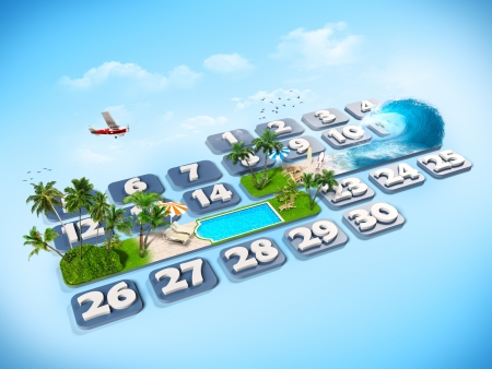 tropical island  One week at the calendar  Stock Photo