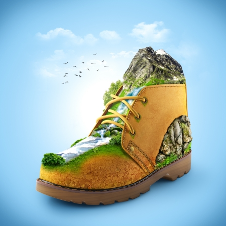 hiking boots: illustration of shoe with mountain and river. traveling Stock Photo