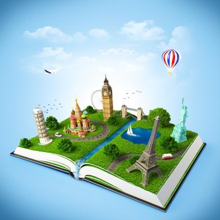 geografia: ilustración de un libro abierto con monumentos famosos. viajes
