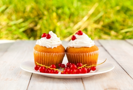 Cakes with cream and berries on wooden boards photo