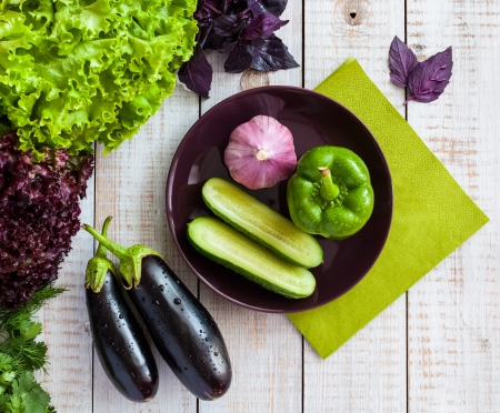 Vegetables on a wooden background Stock Photo - 21435914