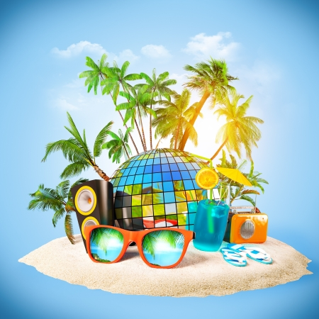 travel collage: tropical island. Party at the beach. Travelling, vacation Stock Photo