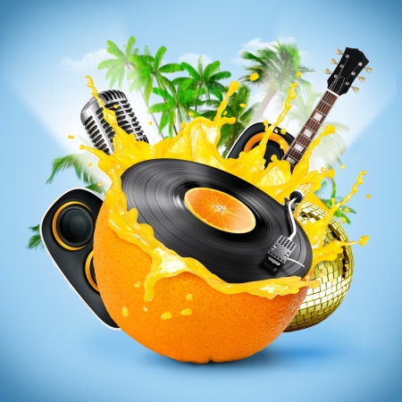 Musical background with a vinyl disc and orange. Tropical patry