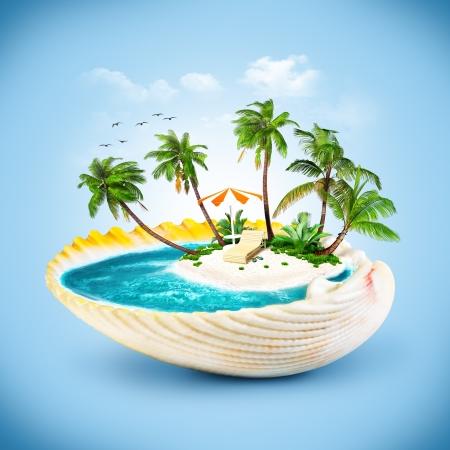 tropicale: île tropicale dans le coquillage. Voyages, vacances