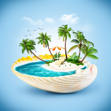 seashells: tropical island in the seashell. Travelling, vacation