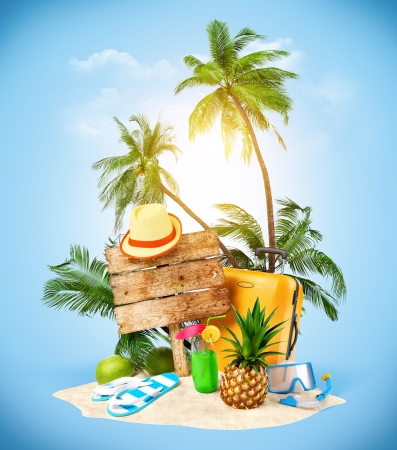 travel luggage: Tropical island  Creative collage  Travelling  Stock Photo