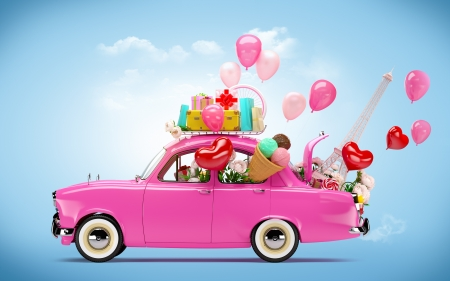 travel collage: Pink car with symbols of love