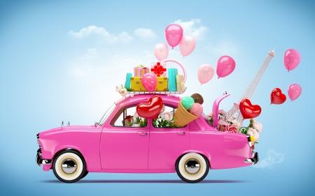 Rosa Auto mit Symbolen der Liebe