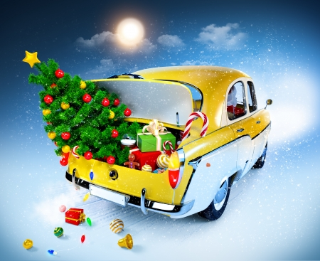 winter car: Christmas background  Car with gifts Stock Photo