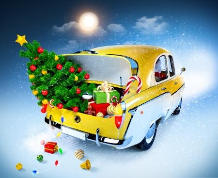 pelota caricatura: Fondo de la Navidad con los regalos de coches