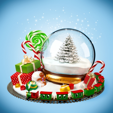 Christmas background  snow globe, gifts and railroad on blue photo