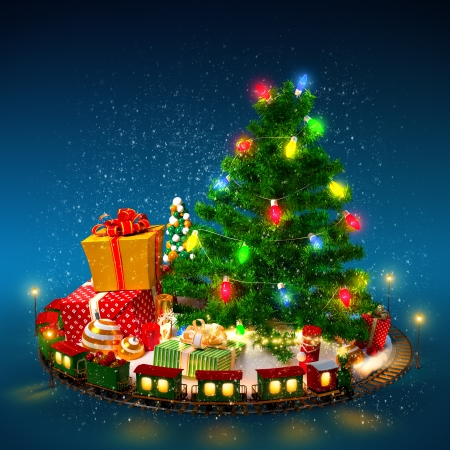 Christmas background  Christmas tree, gifts and railroad on blue Stock Photo - 22478777