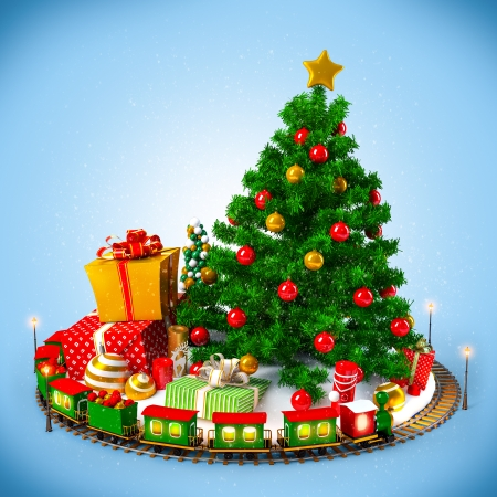 toy: Christmas background  Christmas tree, gifts and railroad on blue Stock Photo