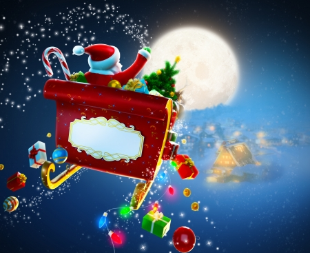 Christmas background  Santa Claus flies by sleigh above houses