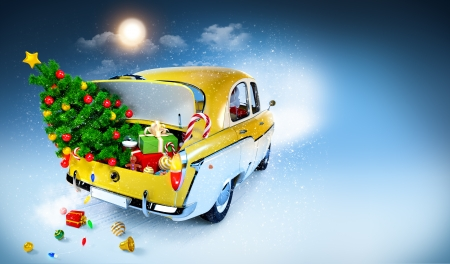 cartoon road: Christmas background  Car with gifts Stock Photo