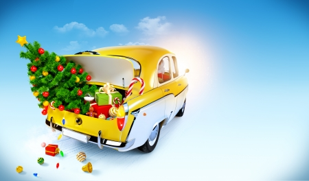 Christmas background  Car with gifts Stock Photo