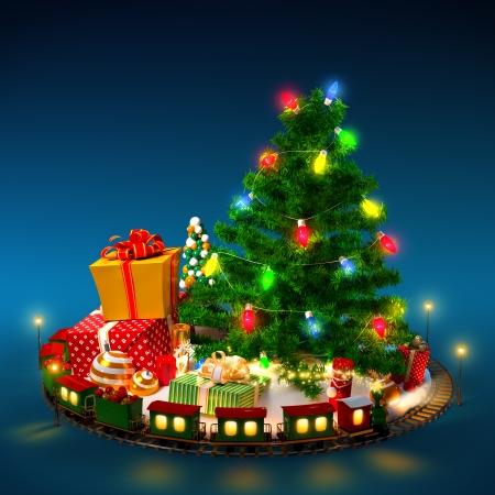Kerst achtergrond. Kerstboom, cadeaus en spoorweg op blauw