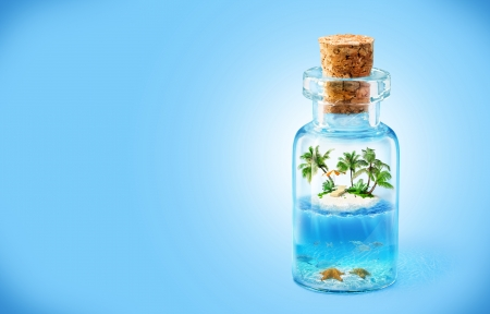 travel collage: tropical island and underwater world in  the bottle  Traveling, vacation Stock Photo