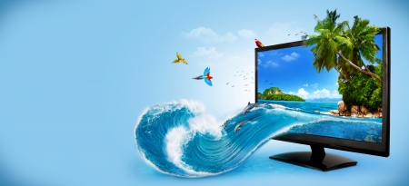 surrealism: Tropical background from computer monitor  Traveling, vacation Water splash