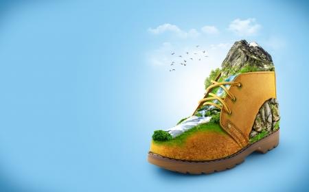 illustratie van de schoen met bergen en de rivier reizen