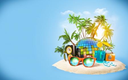 해변 여행, 휴가의 열대 섬 파티
