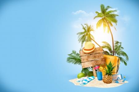 熱帯島の創造的な巡回をコラージュ