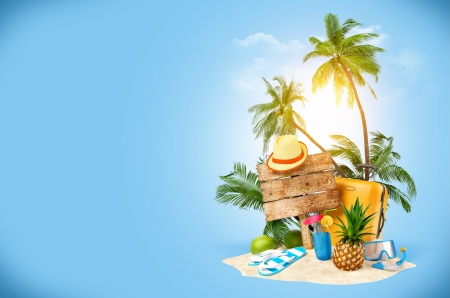 unusual: Tropical island  Creative collage  Traveling
