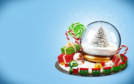 christmas snow globe: Christmas background  snow globe, gifts and railroad on blue