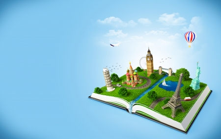 tower of pisa: illustration of a opened book with famous monuments  traveling