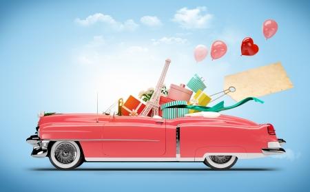 viajes: Coche retro con compras y cajas Moda Shopping Car