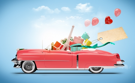 travel collage: Retro car with Purchases and fashion boxes  Shopping Car
